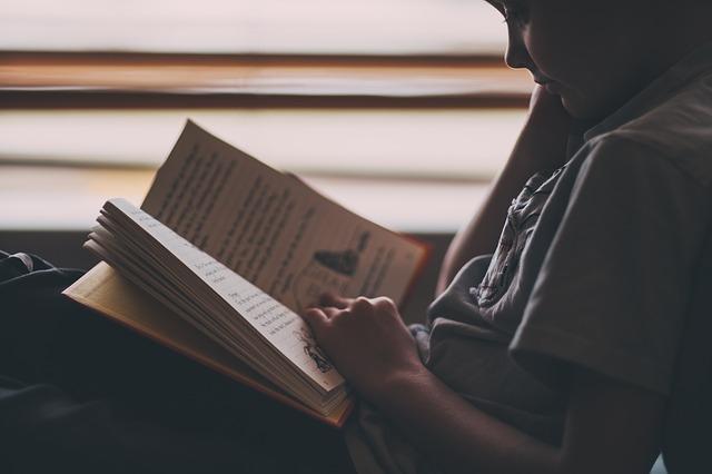 chłopiec czyta książkę