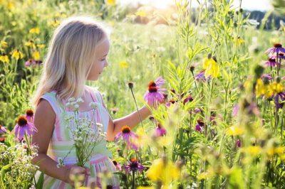 Dziewczynka zbierająca kwiaty